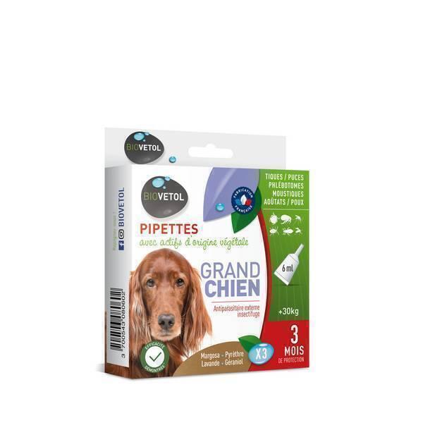 Pipettes insectifuges grand chien 3x6ml biovetol acheter for Acheter piscine pour chien