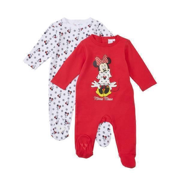 lot de 2 pyjamas minnie 0 6 mois disney baby la r f rence bien tre bio b b. Black Bedroom Furniture Sets. Home Design Ideas
