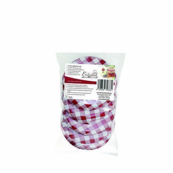 Einkochwelt - 5 couvercles bocaux vichy rouge-blanc 63mm