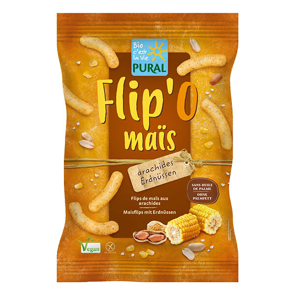 Pural - Biscuit apéritif Flip'o maïs cacahuète 100g