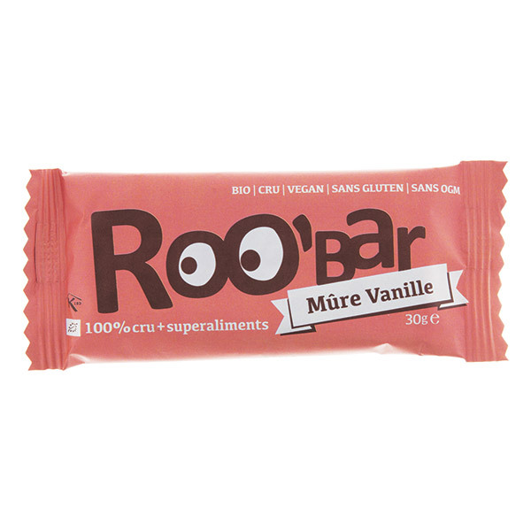 Roo'bar - Barre crue Mûre & Vanille bio et vegan - 30 g