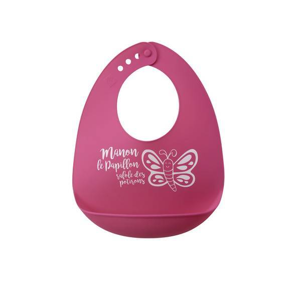 bavoir silicone papillon rose tex baby la r f rence bien tre bio b b. Black Bedroom Furniture Sets. Home Design Ideas