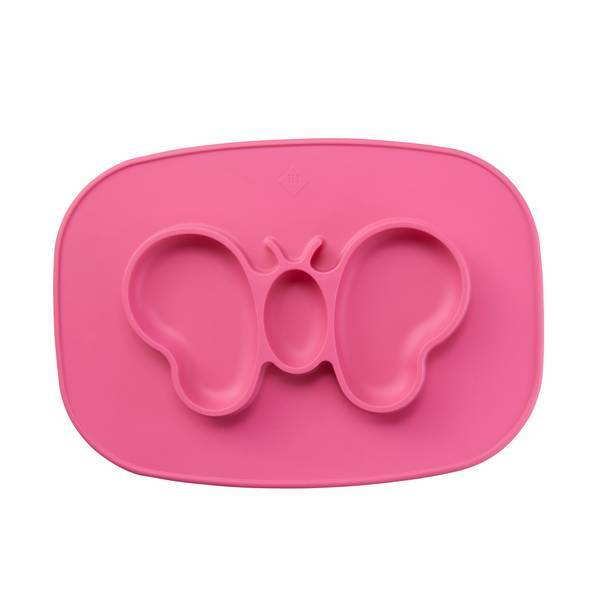 Tex Baby - Plateau assiette silicone - Papillon framboise - 6mois+