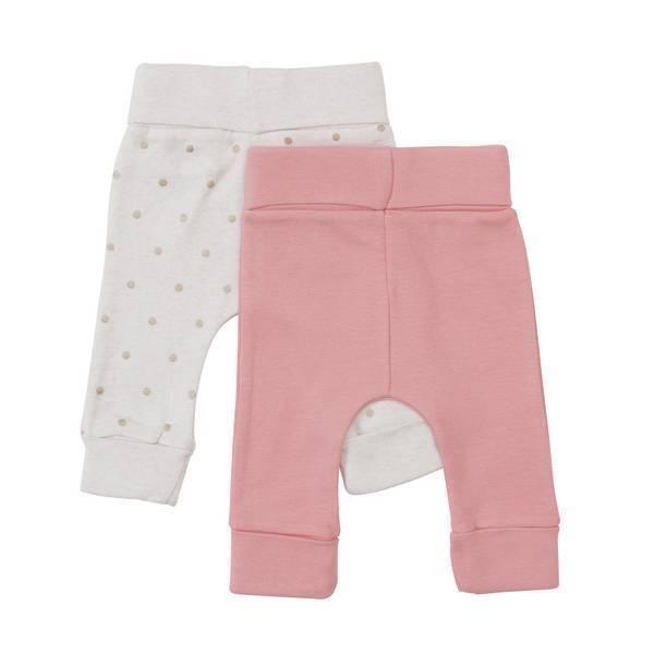 Tex Baby - 2 leggings nouveau-né - Beige/rose - 00M/0 à 3/6 mois