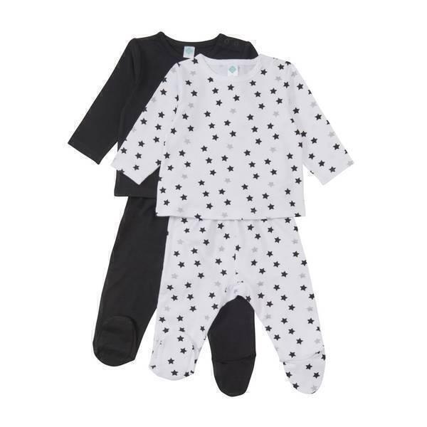 lot de 2 pyjamas 2 pi ces etoile noire 6 36 mois tex baby la r f rence. Black Bedroom Furniture Sets. Home Design Ideas