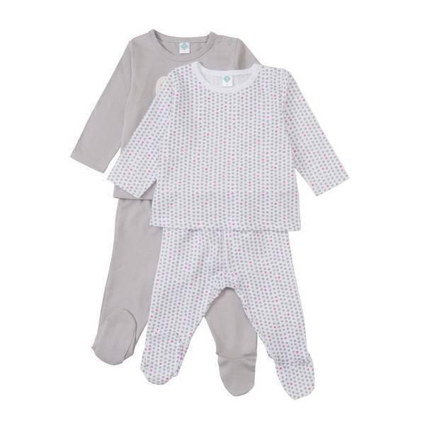 lot de 2 pyjamas 2 pi ces gris lapin 6 36 mois tex. Black Bedroom Furniture Sets. Home Design Ideas