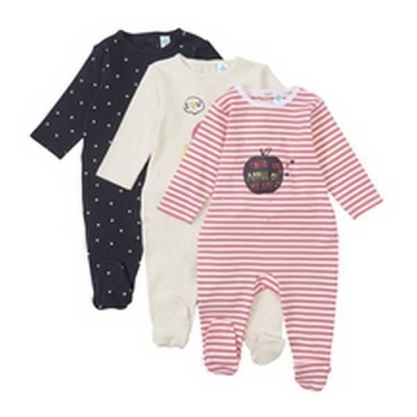 lot de 3 pyjamas rose 0 6 mois tex baby natiloo. Black Bedroom Furniture Sets. Home Design Ideas