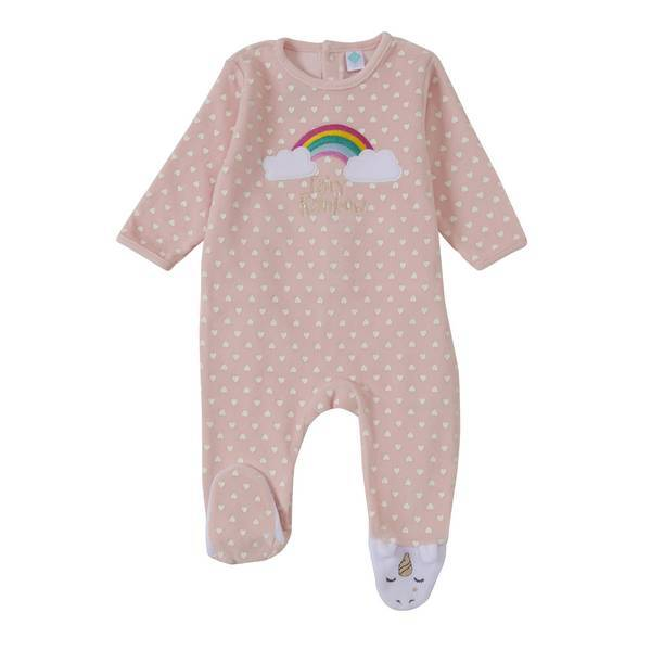 pyjama rose licorne 0 6 mois tex baby la r f rence bien tre bio b b. Black Bedroom Furniture Sets. Home Design Ideas