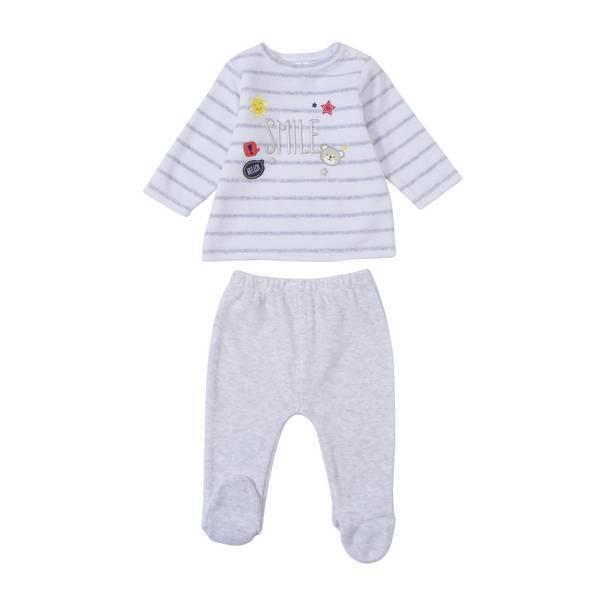 pyjama 2 pi ces gris 6 36 mois tex baby la r f rence bien tre bio b b. Black Bedroom Furniture Sets. Home Design Ideas