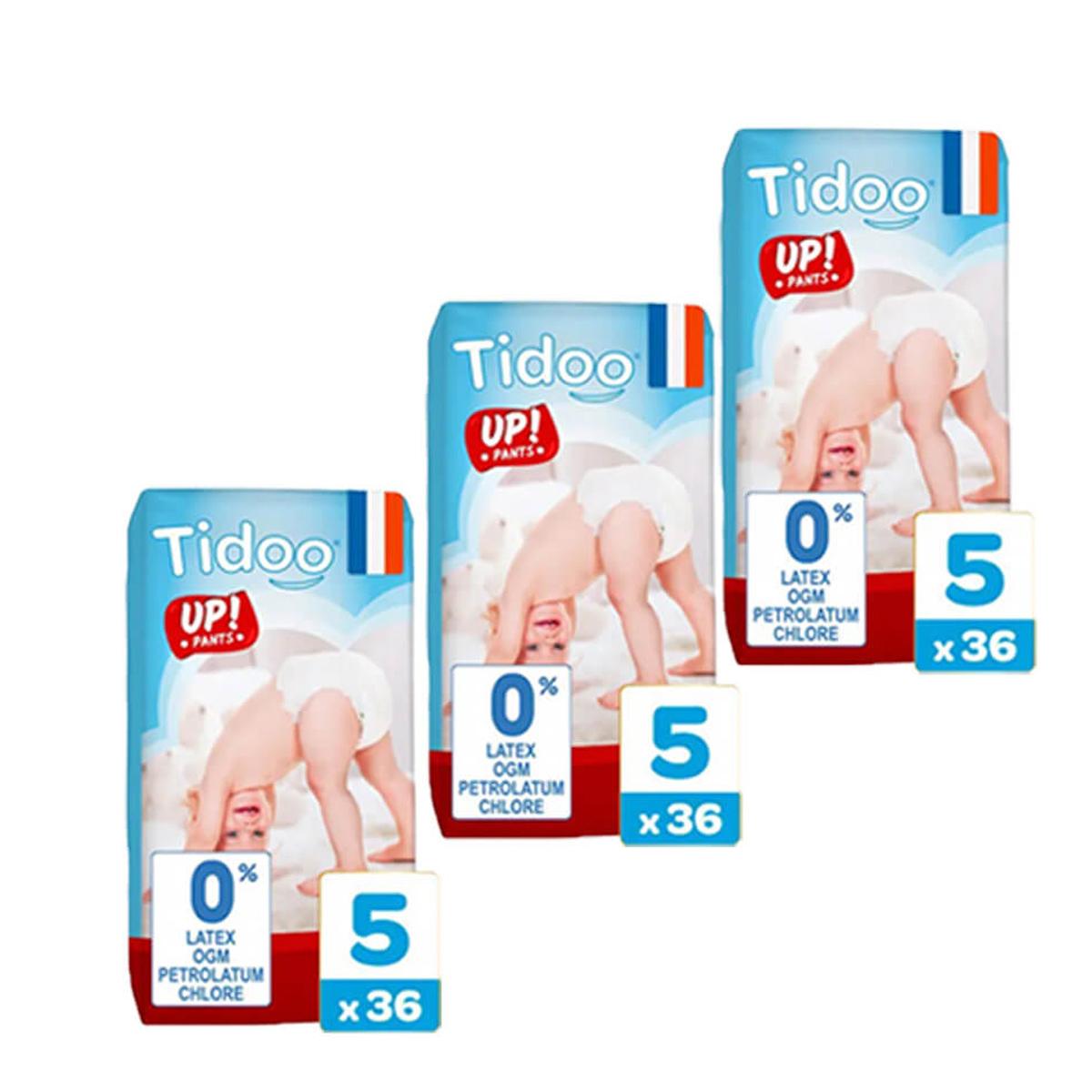 Tidoo - Pack 3x36 Culottes d'apprentissage T5 12-18kg Nature