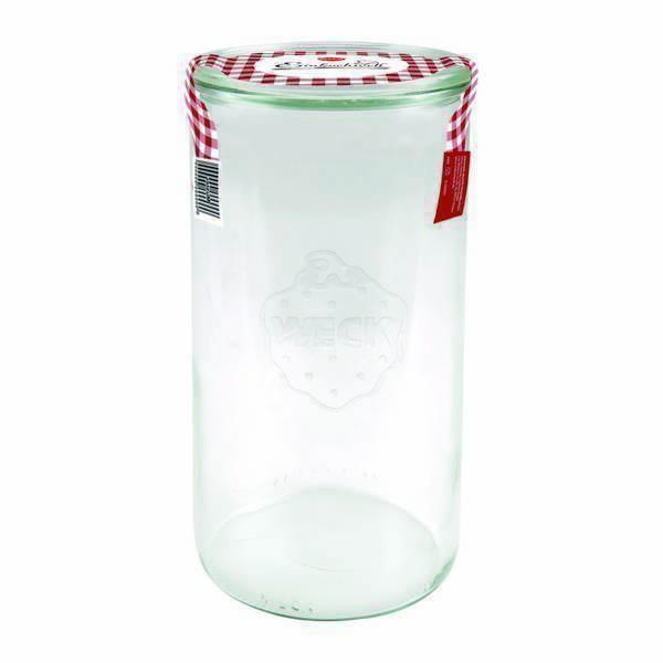 Weck - Bocal en verre cylindrique avec couvercle 1,5L